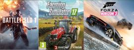 Pacote jogos: Battlefield 1 + Foriza Horizon 3 + Farming Simulator 17 XBOX ONE